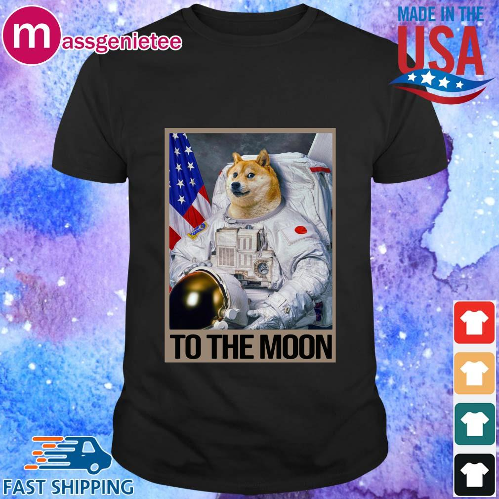 Dogecoin to the moon American flag shirt