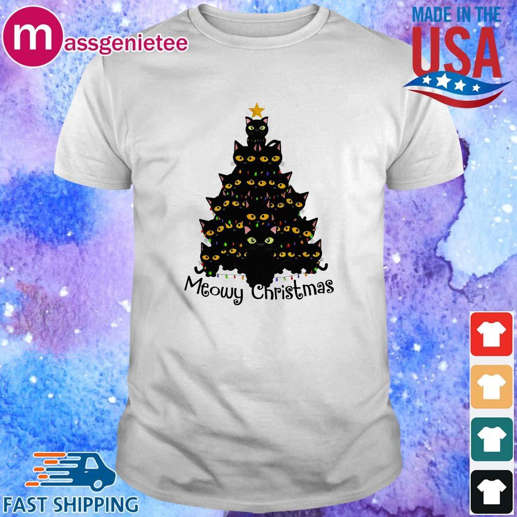 Black cats Christmas tree meowy Christmas sweater