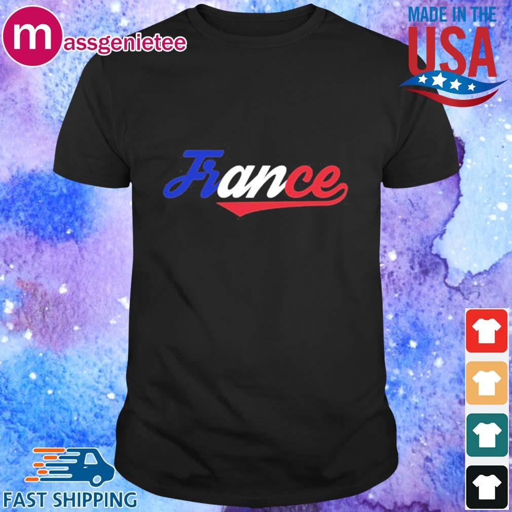 Frankreich Schrift mit Farben der Flagge France Fahne Shirt - Copy