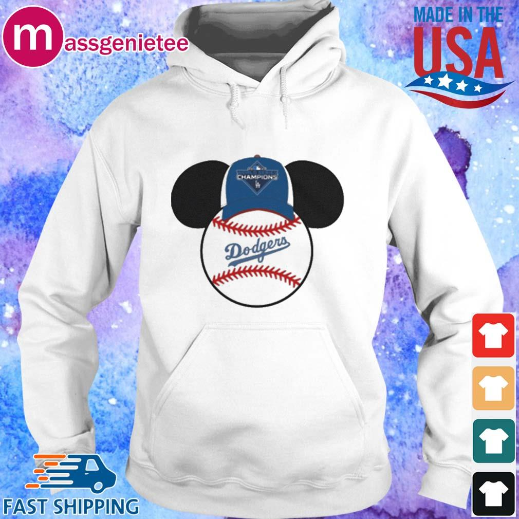 Los Angeles Dodgers Mickey Mouse Champions 2020 MLB Shirts Hoodie trang