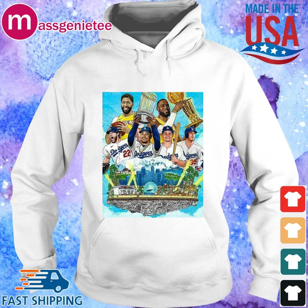 Official Los Angeles Lakers And Los Angeles Dodgers Champions 2020 Player Shirt Hoodie trang