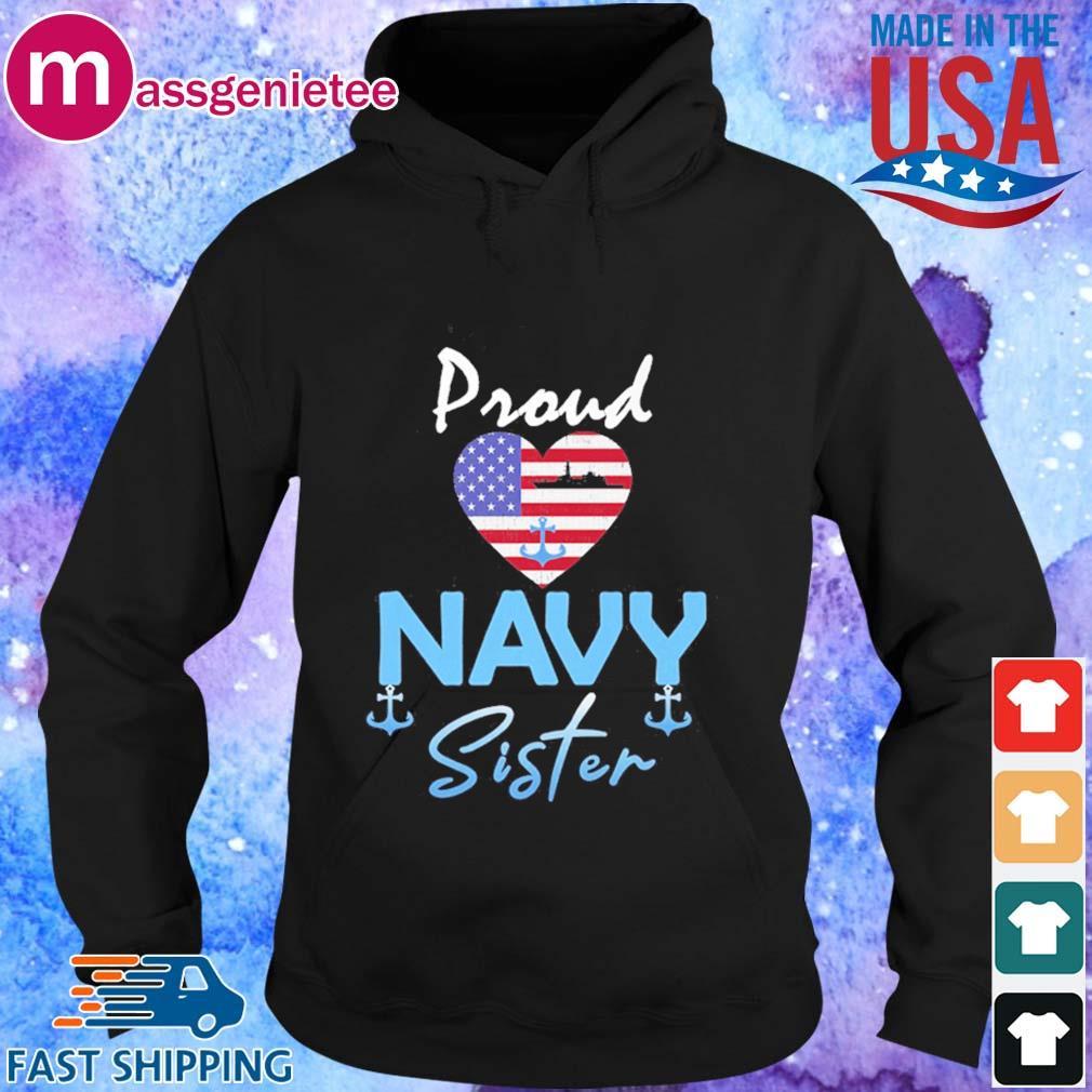 Proud Navy sister Heart American flag s Hoodie den