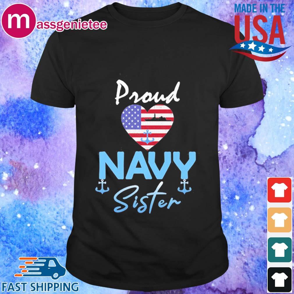 Proud Navy sister Heart American flag shirt
