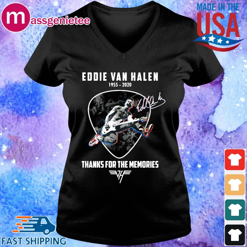 Eddie Van Halen playing Guitar 1955-2020 thanks for the memories signature s V-Neck den