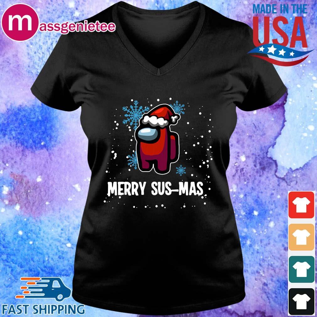 Santa Imposter Merry Sus-Mas Among Us Christmas Sweater V-Neck den