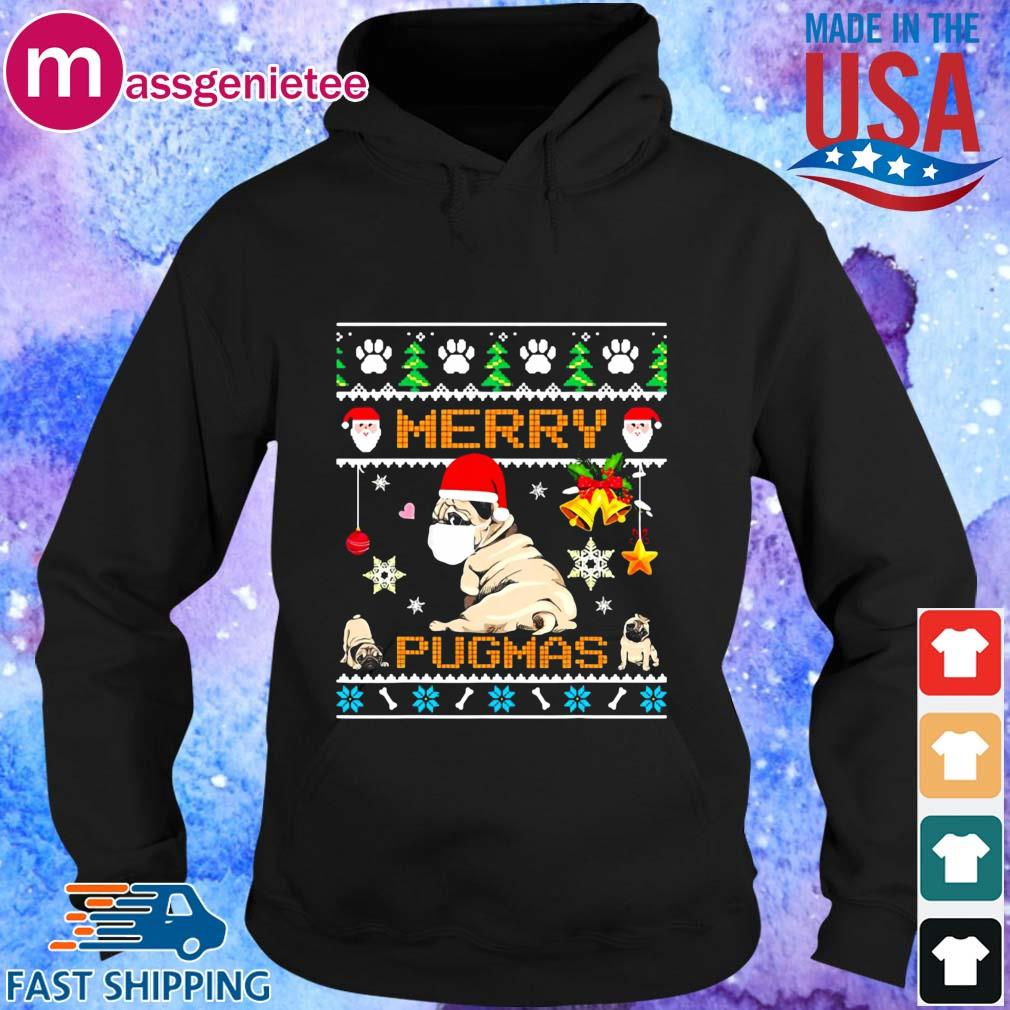 Santa Pug Dog Face Mask Merry Pugmas Ugly Christmas Sweater Hoodie den