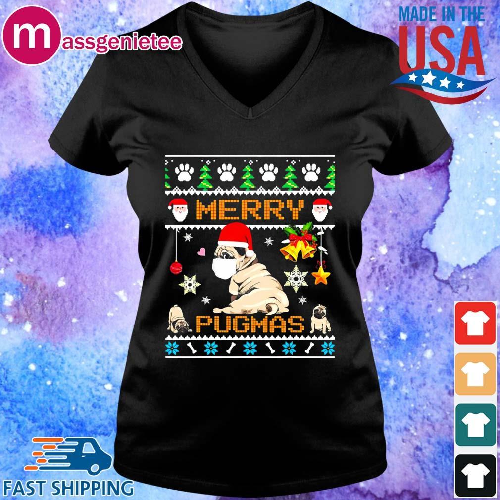 Santa Pug Dog Face Mask Merry Pugmas Ugly Christmas Sweater V-Neck den