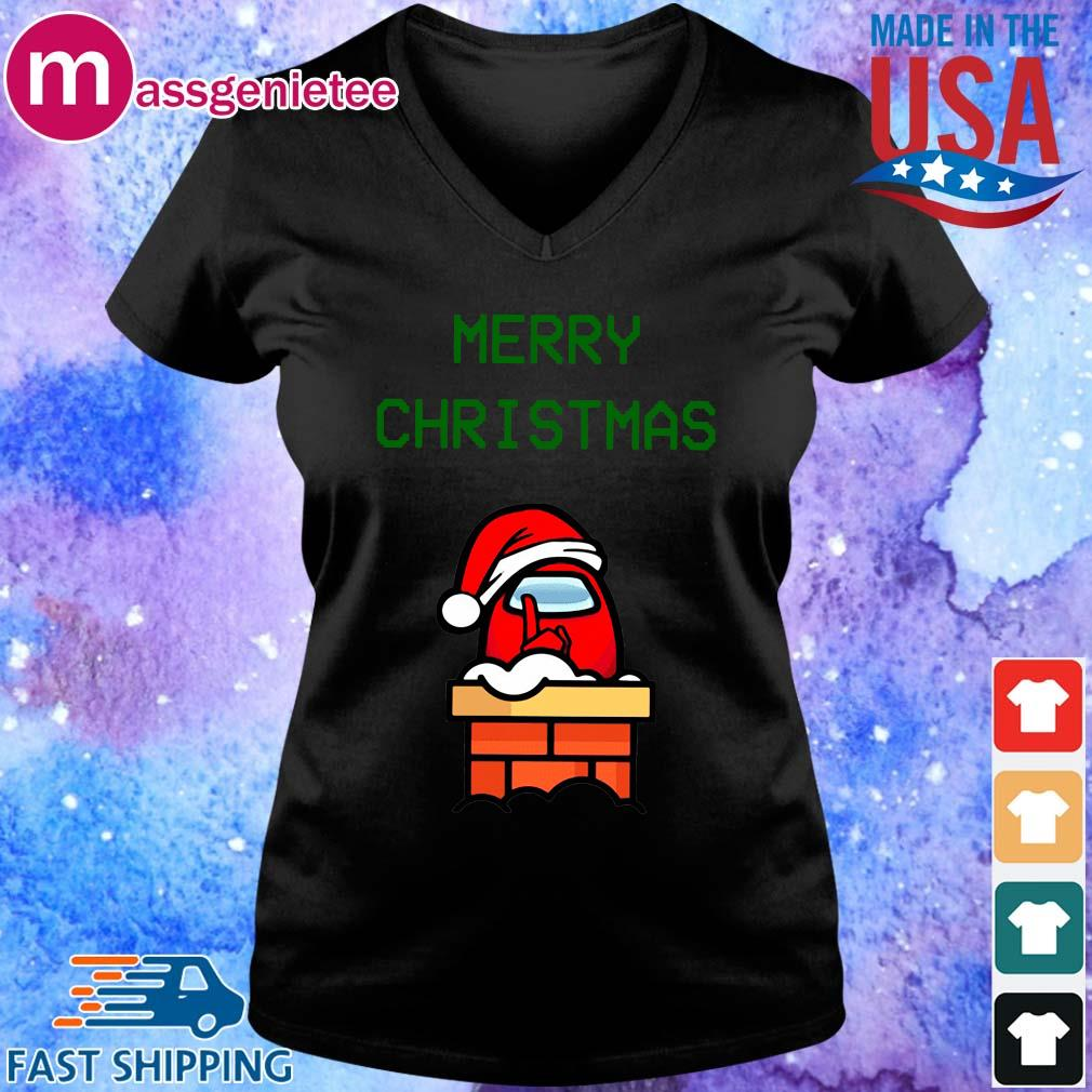Santa Red Among Us Merry Christmas sweater V-Neck den
