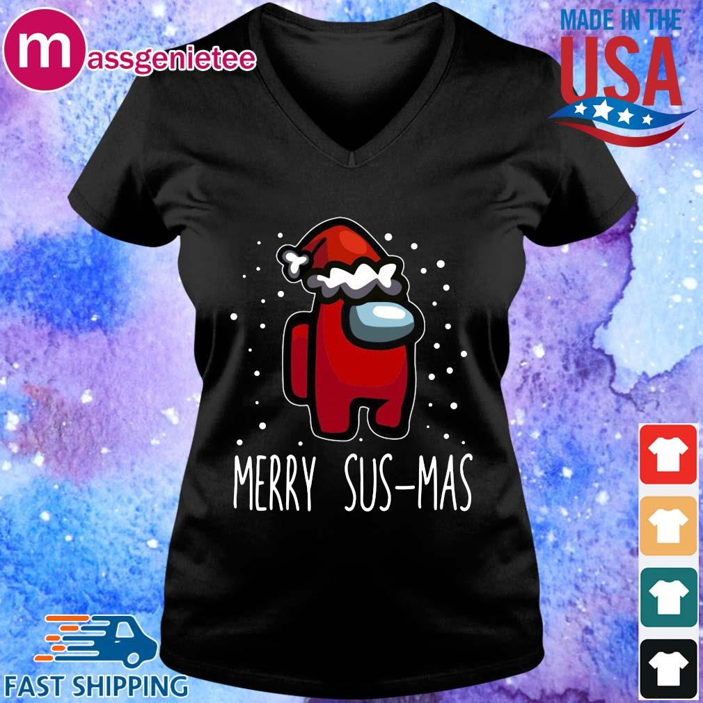 Santa Red Among Us Merry Sus-Mas Christmas sweater V-Neck den