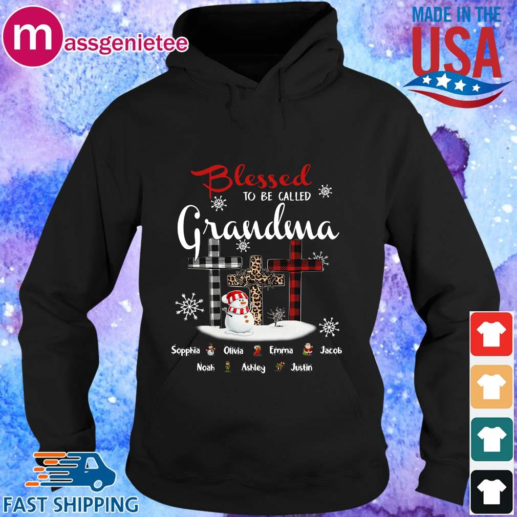 Snowman and Cross blessed to be called Grandma Sophia Olivia Emma Christmas sweater Hoodie den