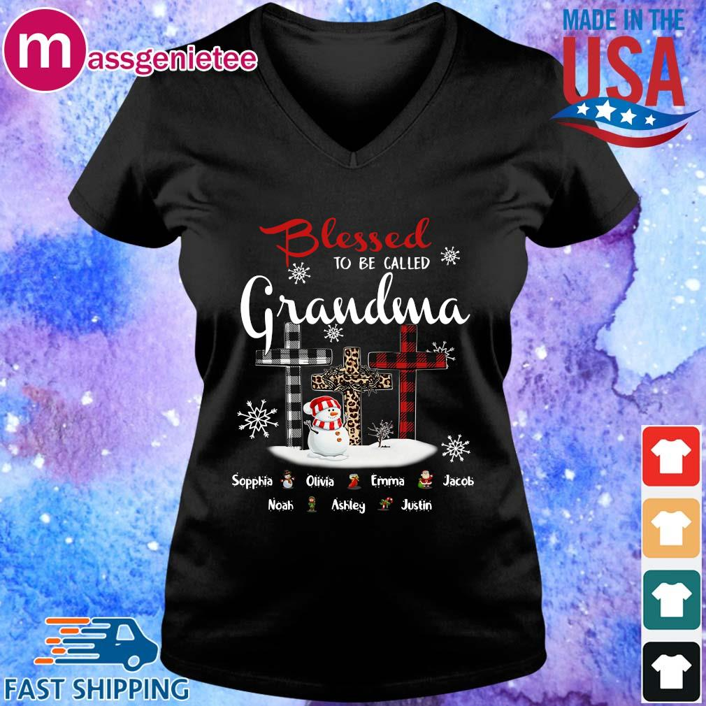 Snowman and Cross blessed to be called Grandma Sophia Olivia Emma Christmas sweater V-Neck den